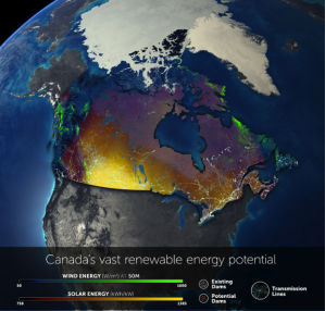 Renewable energy potential in Canada.