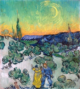 "Couple Walking with Crescent Moon"" Vincent Van Gogh"